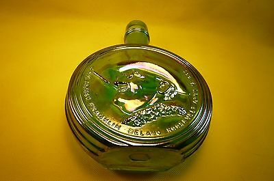 VINTAGE WHEATON 1st EDITION FRANKLIN D. ROOSEVELT DECANTER-Green Carnival Glass