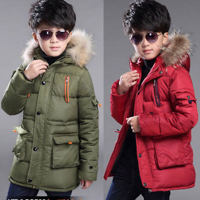 Kids boys puffer warm cotton-padded coat quilted jacket Fur hooded outwear parka