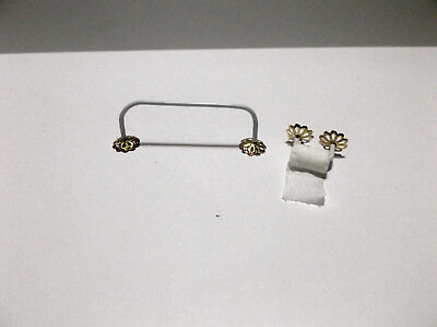 Miniature Doll House Handcrafted Bathroom Towel and Toilet Paper Holder