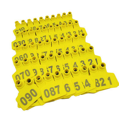 """US Stock 100x Yellow 001-100 Number Plastic Livestock Ear Tag 2"""" x 1.6"""" For Pig"""