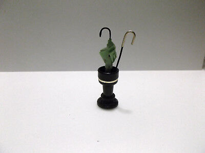 Miniature Doll House Handcrafted Umbrella, Cane and Stand
