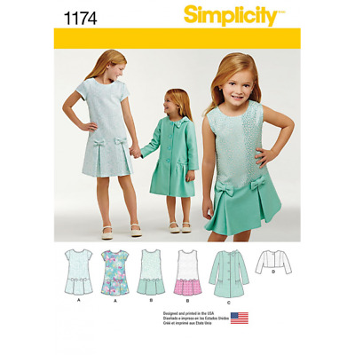 Child's and Girls Drop Waist Dress Coat & Jacket Simplicity Sewing Pattern 1174