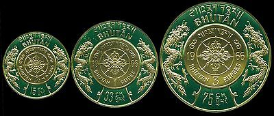 BHUTAN GOLD COIN HUMAN RIGHTS 3v COMPLETE SET ERROR OF VALUE RARE