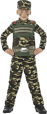 Boys Camouflage Army Soldier Uniform Military Fancy Dress Costume Outfit 4-12yr