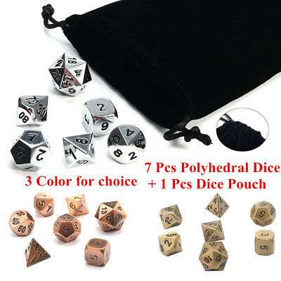 7Pcs/set Antique Metal Polyhedral Dice & Bag DND RPG MTG Role Playing Board Game