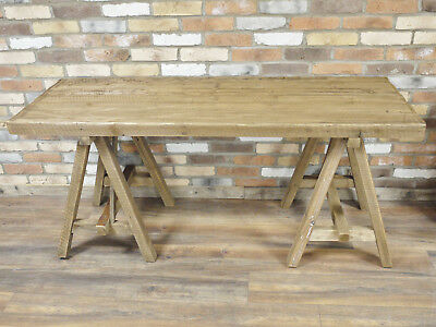 Wooden Industrial Table Rustic Wood Crossed Legs Natural Acacia Top Dining New