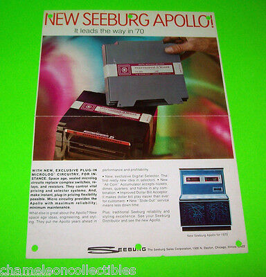 LS3 APOLLO By SEEBURG 1969 ORIGINAL JUKEBOX PHONOGRAPH MUSIC PROMO SALES FLYER