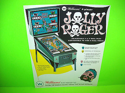 Williams JOLLY ROGER 1968 Original Pinball Machine Flipper Game Promo Flyer