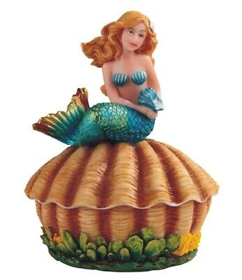 Turquoise Mermaid on Sea Shell Jewelry Trinket Keepsake Box Decoration New