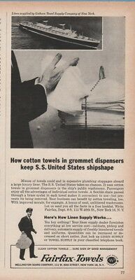 1963 Fairfax Cotton Towel Grommet Dispenser SS United States Cruise Ship Ad