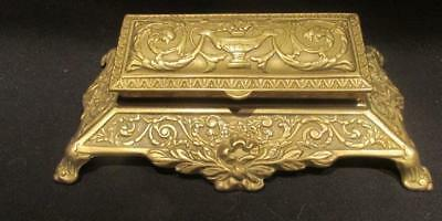 Stamp or Coin Holder Vintage Ornate Footed Brass Desk Accessory 5 Compartments