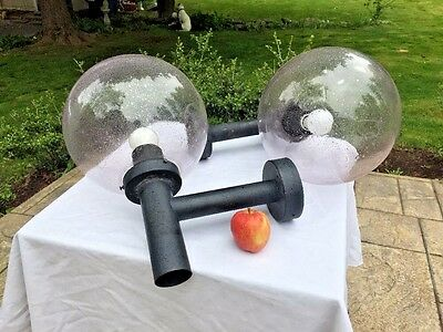 Pair Mid Century HANS AGNE JAKOBSEN Outdoor Wall Sconces Lights Glass Globes