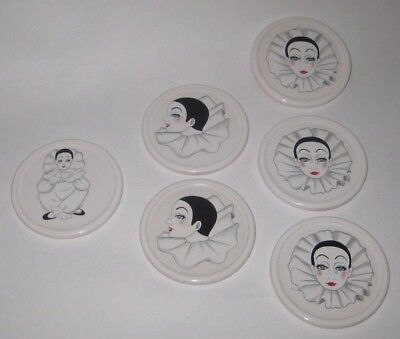 6 Assorted PIERROTS on PORCELAIN Cork BACKED Beverage COASTERS