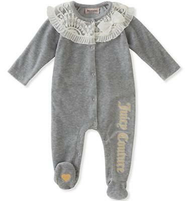 Juicy Couture Infant Girls Grey Laced Velour Coverall Size 0/3M 3/6M 6/9M $50