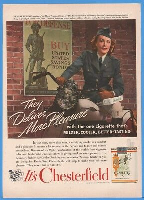 1942 Chesterfield Cigarette WWII Harley Davidson Motorcycle Deanne Fureau Ad