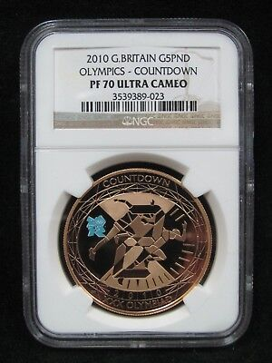 2010 Great Britain Gold £5 Olympics Countdown - NGC PF 70 Ultra Cameo