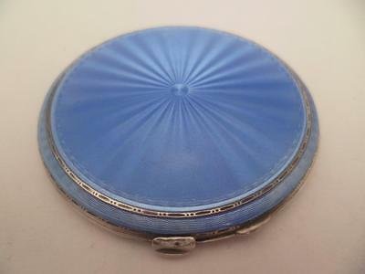 Art Deco Quality Silver & Guilloche Baby Blue Enamel Compact H/marked Dated 1938