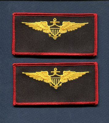 US NAVY USMC MARINE CORPS Naval Aviator Gold Wings Squadron Name Tag Patch Set