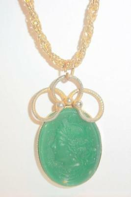 Vintage Jade Green Glass Cameo Necklace