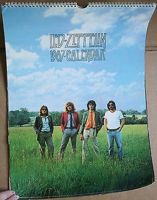 "1987 Large 17 x 11"" Led Zeppelin Wall Calendar Photos Swan Song Page Plant"