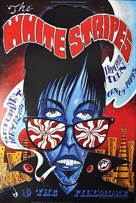 White Stripes Imperial Teen SF Fillmore Gig Poster 2001 J Shea Limited Edition