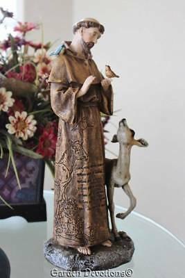 "Wonderful 12"" ST. FRANCIS OF ASSISI PRAYER STATUE Deer Bird INDOOR / OUT ~ NICE!"
