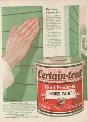 1918 Certain Teed House Paint Can Painting Print Ad