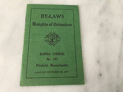 1957 Knights Of Columbus  By Laws 1957 Rabida Council No. 103 Pittsfield, Mass.