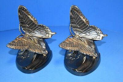 Vintage Brass Butterfly Bookends Book Ends PM Craftsman USA ~Perfect~