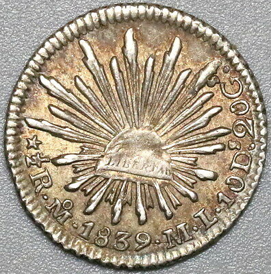 1839 MEXICO Silver 1/2 Real AU Coin (17032701S)