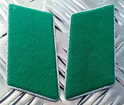 Genuine East German Forces Collar Tabs Green With Silver Borders DDR NVA - NEW N