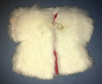 1950's Cosmopolitan Little Miss Ginger White Fur Coat With Red Satin Lining TAG