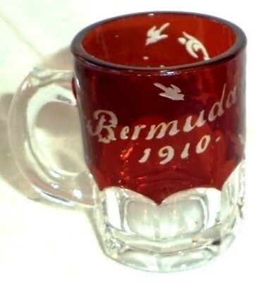 EAPG Ruby Stained Creamer Pitcher Jug Glass Cranberry Bermuda 1910 Birds Flowers