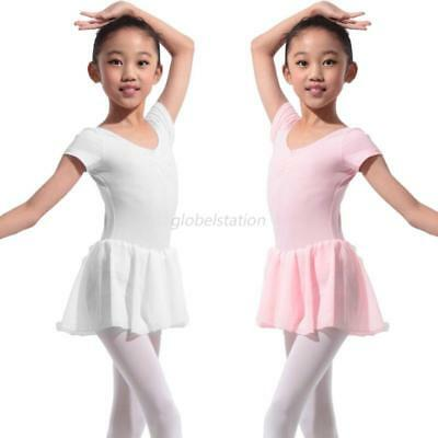 US Kids Girls Leotard Ballet Dress Gymnastics Skirts Dancewear Costumes 4-13Y