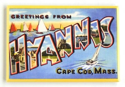 Greetings from Hyannis Massachusetts FRIDGE MAGNET (2.5 x 3.5 inches) cape cod B