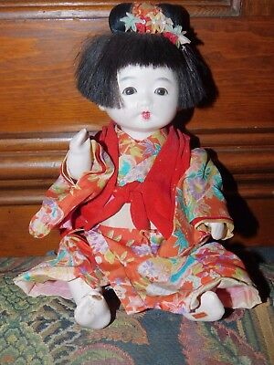 JAPANESE GOFUN ICHIMATSU GIRL DOLL jointed with glass eyes 11""
