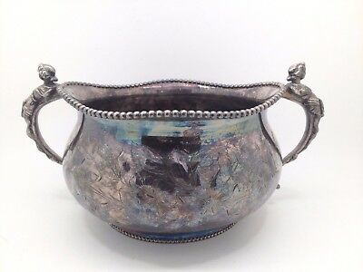 SOUTHINGTON Silverplate Repousse Centerpiece Bowl With Figural Handles