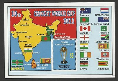 DOMINICA 2011 ICC 10th CRICKET WORLD CUP FLAGS Souvenir Sheet MNH