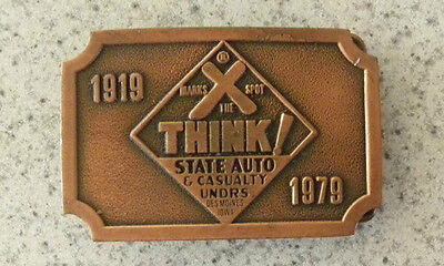 """1979 State Auto & Casualty, Des Moines, Iowa IA, """"X Marks the Spot"""" BELT BUCKLE"""