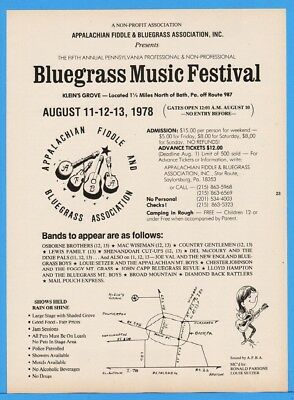 1978 Appalachian Fiddle Bluegrass Fest Bath PA Osborne Bros Lewis Fam Joe Val Ad