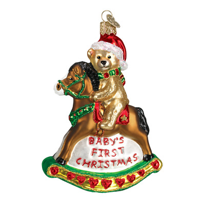 """Rocking Horse Teddy"" (44034)X Old World Christmas Ornament w/ OWC Box"