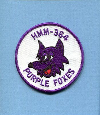 HMM-364 PURPLE FOXES USMC MARINE CORPS BOEING CH-46 Helicopter Squadron Patch CL