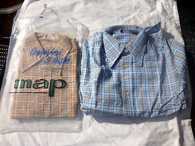 VINTAGE RETRO 1970's 2 BOYS ALL COTTON CHECK SHIRTS Made In Italy Mint Unworn