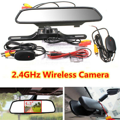 4,3'' Retrocamera  Monitor Telecamera 7 Led Ir Wireless Kit Retromarcia Per Auto