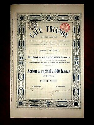 Cafe Trianon ,Brussels, Belgium  Share certificate 1912  Fine