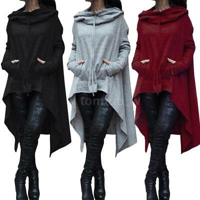 Women Hoodie Dress Long Hooded Tops Sweatshirt Sweater Asymmetric Coat Plus C8S2