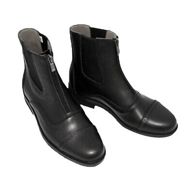 1 Pair Leather Jodhpur Boots Paddock Boots Equestrian Black Zip-up