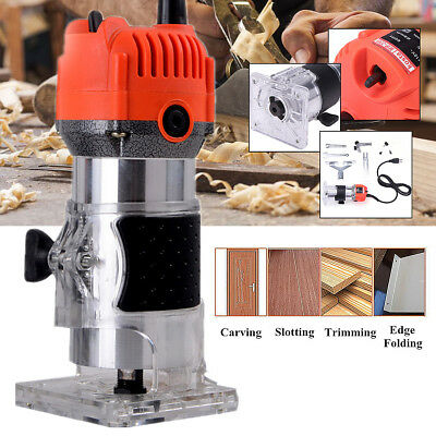 110V 750W 35000PRM 1/4'' Electric Wood Trimmer Laminator Router Joiners Tool Set