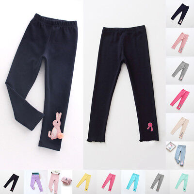 Baby Kids Girls Warm Stretchy Waist Cotton Skinny Pants Casual Trousers 1-7Y Hot