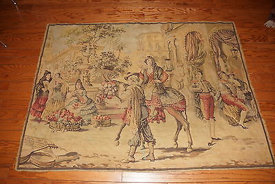 """1800's Antique Wall Hanging Color Spanish Theme Tapestry Large 66"""" x 48"""""""